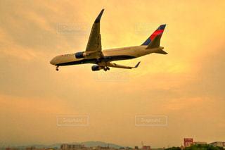 夕陽に照らされたデルタ航空機の写真・画像素材[812357]