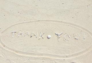 砂  白い  サンゴ  貝殻  ありがとう  thank you メッセージ  夏の写真・画像素材[600931]