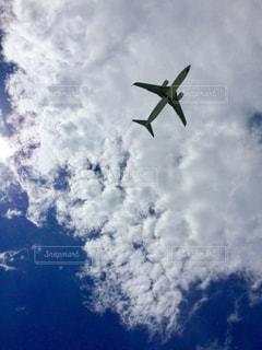 日差し  飛行機  青空  雲  空  夏の写真・画像素材[600932]