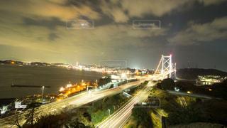 関門海峡大橋の夜景の写真・画像素材[969452]