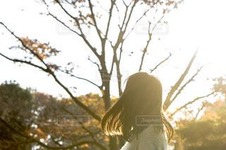 紅葉している公園にいる女の子の写真・画像素材[1665401]