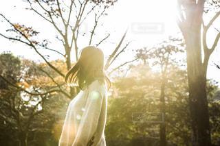 紅葉している公園にいる女の子の写真・画像素材[1665402]