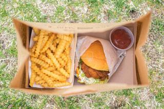 ピクニックでハンバーガーの写真・画像素材[2050440]