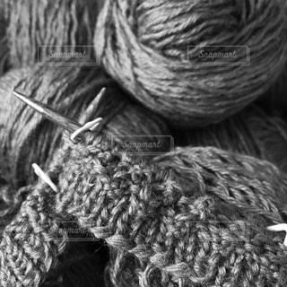 編み物、モノクロの写真・画像素材[618089]