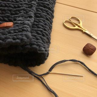 手編みのネックウォーマーの写真・画像素材[1525224]