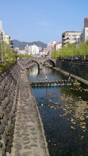 中島川から望む長崎な風景の写真・画像素材[897649]