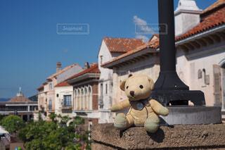 建物の上に座っている大きな茶色のテディベアの写真・画像素材[2447388]