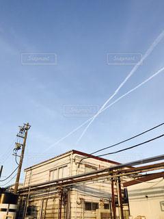 飛行機雲の写真・画像素材[624350]