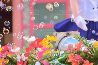 色とりどりの花の花瓶の写真・画像素材[1143551]