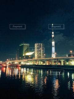 隅田川からの東京スカイツリーの夜景です。 - No.1015939