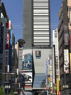 歌舞伎町高層ビル群に潜むゴジラの写真・画像素材[1222416]