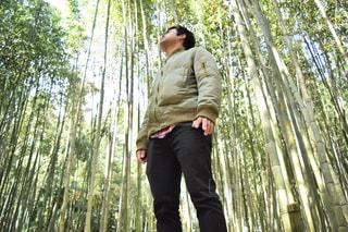 木の隣に立っている男の写真・画像素材[932714]