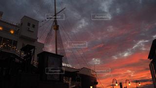 アメリカンウォーターフロントの夕日の写真・画像素材[1844696]