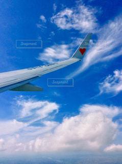 曇りの青い空を飛んでいるジェット大型旅客機 - No.733319