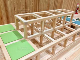 木製テーブルの写真・画像素材[1055653]