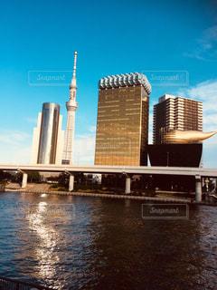 バック グラウンドで市と水に架かる橋の写真・画像素材[788680]