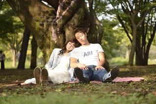 木に坐っていた男の写真・画像素材[1240921]