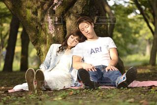 木に坐っていた男の写真・画像素材[1240922]