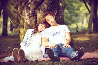 木に坐っていた男の写真・画像素材[1240925]