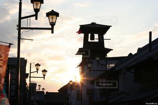 夕日と時の鐘の写真・画像素材[743933]