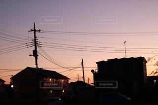 夕方の住宅街の写真・画像素材[3129945]