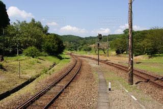 下り列車を走行する列車は森の近く追跡します。 - No.719871