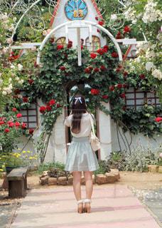 花の前に立っている女性 - No.813325