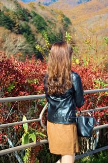 フェンスの前に立っている女性 - No.840716