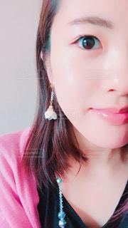 クローズ アップ撮影、selfie ピンクの髪を持つ女性の - No.1183325