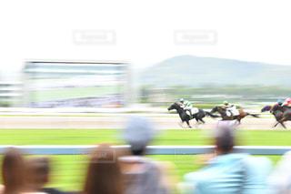 馬に乗る人のぼやけたイメージの写真・画像素材[2384880]