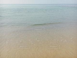 水の体の横にある砂浜のビーチの写真・画像素材[1173079]