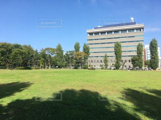 芝生のフィールドを持つ大きな建物の写真・画像素材[776420]