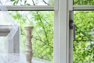 緑が見える窓とオブジェの写真・画像素材[1232589]