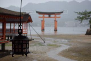 雨の厳島神社と大鳥居の写真・画像素材[1629969]