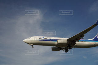 曇りの青い空を飛んでいるジェット大型旅客機の写真・画像素材[1412464]