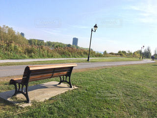 川沿いの公園ベンチの写真・画像素材[782608]