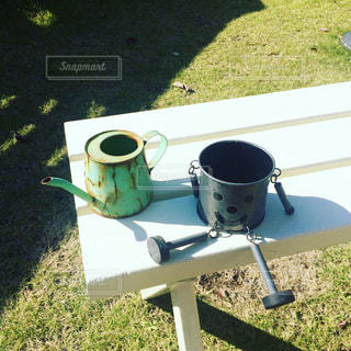 コーヒー カップの横に座っている芝生の椅子のカップルの写真・画像素材[847091]