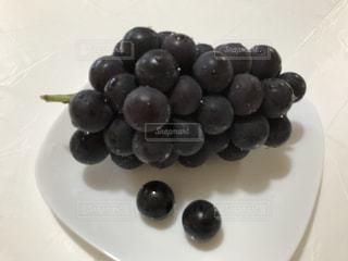 葡萄をのせた白プレートの写真・画像素材[739012]