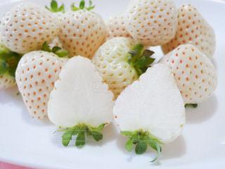 皿の上の白いいちご(天使のいちご)の写真・画像素材[2899280]