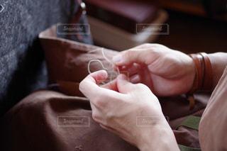 革職人の手縫いの写真・画像素材[1241964]
