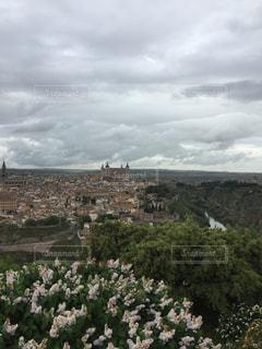 トレドの街と花の写真・画像素材[677673]
