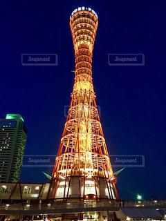 夜の神戸ポートタワー 夜の写真・画像素材[1305685]