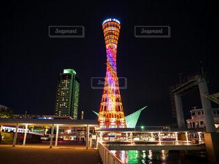 夜の神戸ポートタワーの写真・画像素材[1390047]