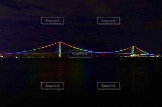 夜の明石海峡大橋の写真・画像素材[1391040]