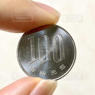 100円玉を持つ手の写真・画像素材[2856844]