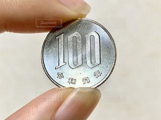 100円玉を持つ手の写真・画像素材[2860736]