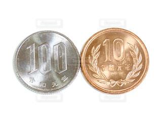 2枚のコインの写真・画像素材[3088146]