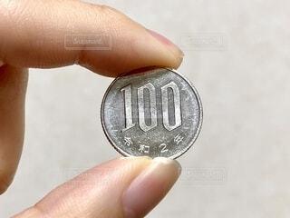 100円玉を持つ手の写真・画像素材[4179935]