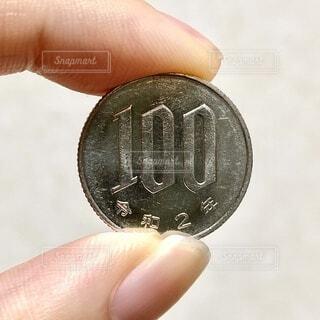 100円玉を持つ手の写真・画像素材[4179938]