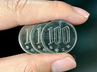 3枚の100円玉の写真・画像素材[4359158]